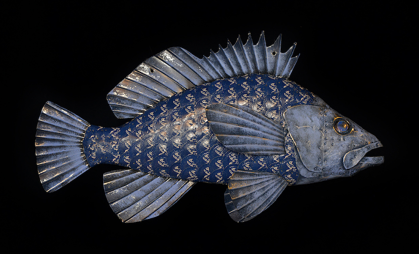"Blue Rockfish, 22"", bottle caps and sheet steel over wood, paint"