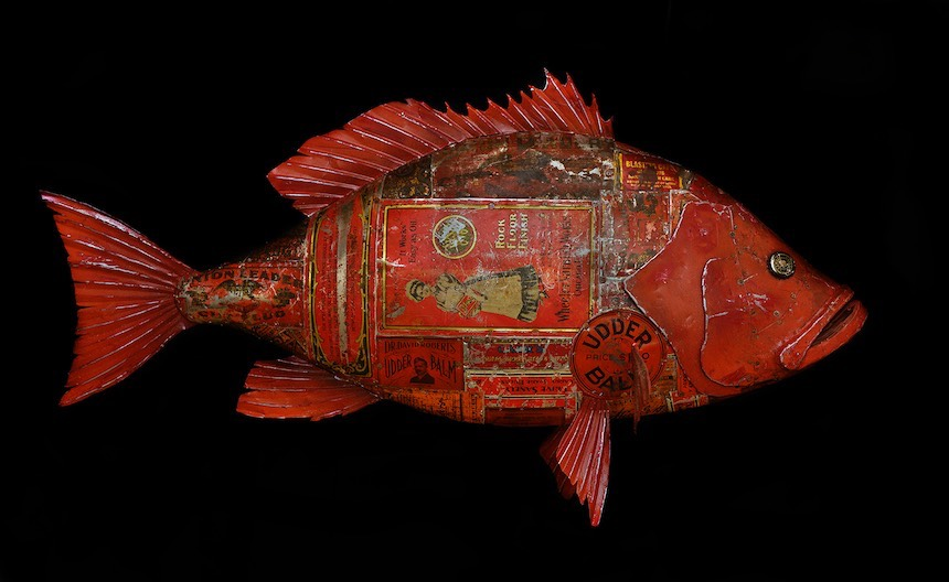 "Red Snapper, 36"", antique advertising tins and sheet steel over wood, paint"